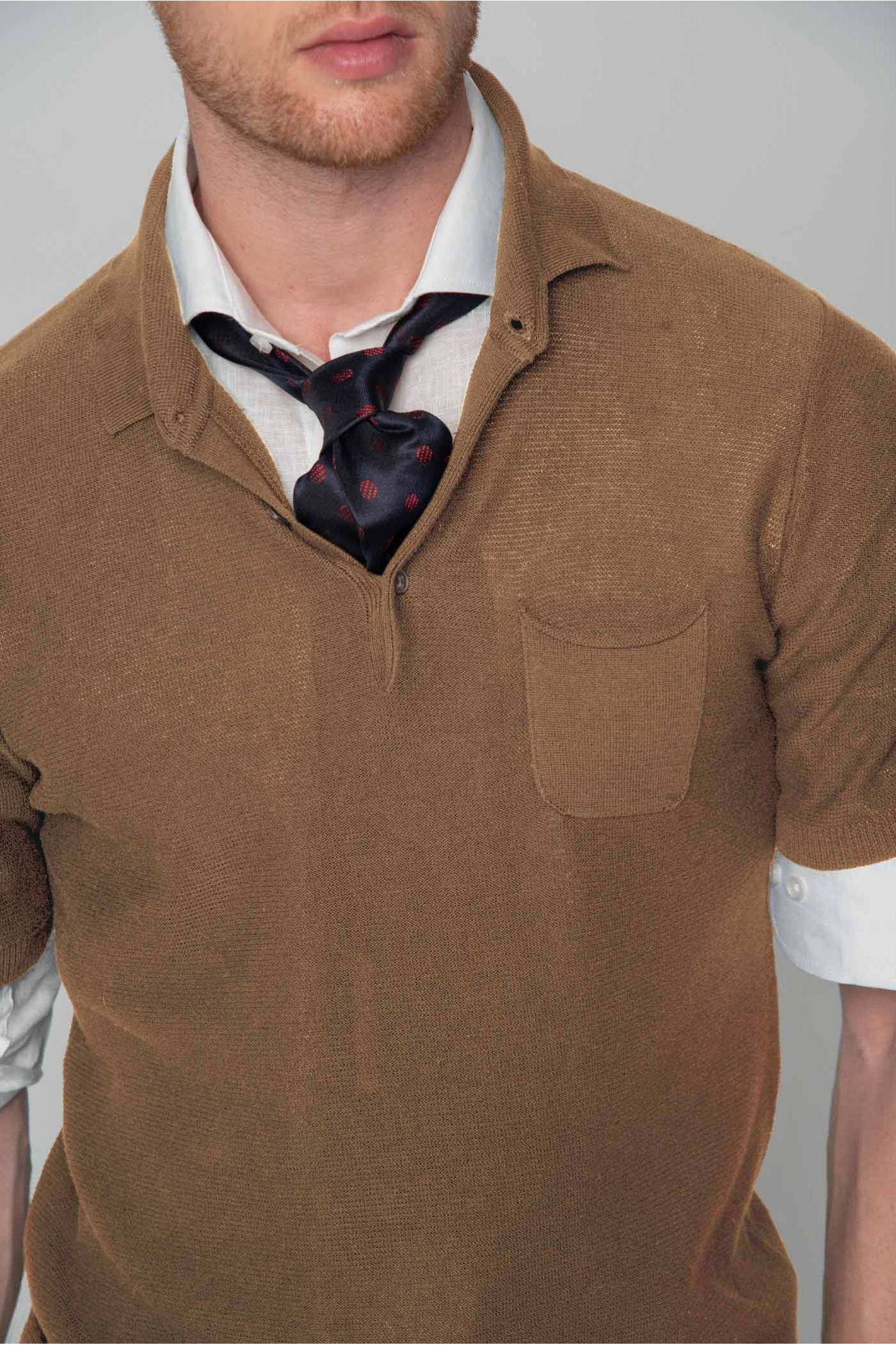 Πλεκτή μπλούζα POLO με τσεπάκι, ανδρική
