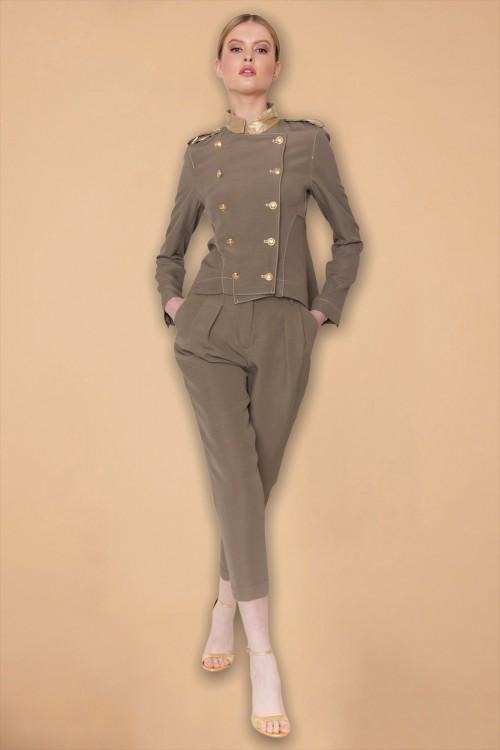 Σακάκι militaire σταυρωτό με ΜΑΟ γιακά και χρυσά κουμπιά, γυναικείο