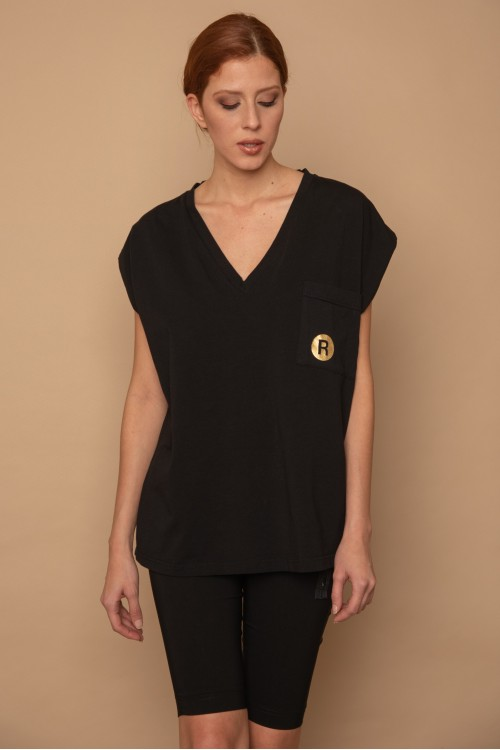 Maco blouse -V- with pocket and R print, women