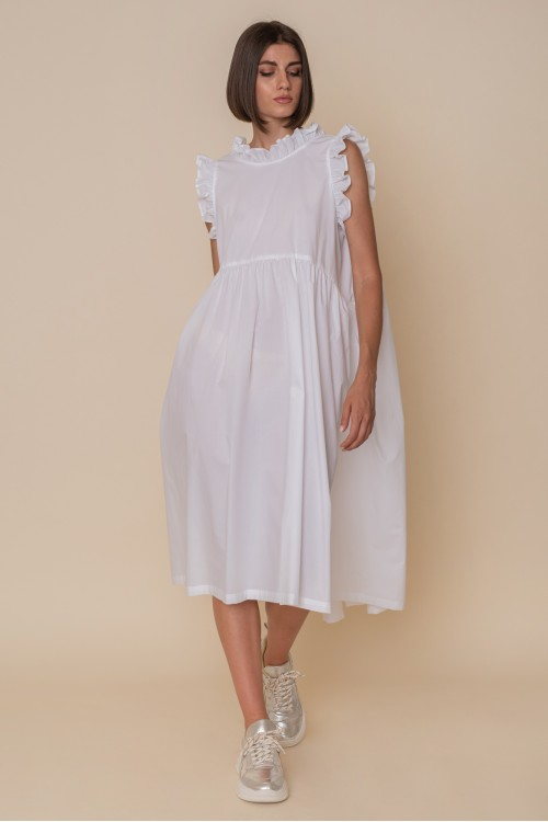 Sleeveless cotton dress with ruffles on the neckline and armpit