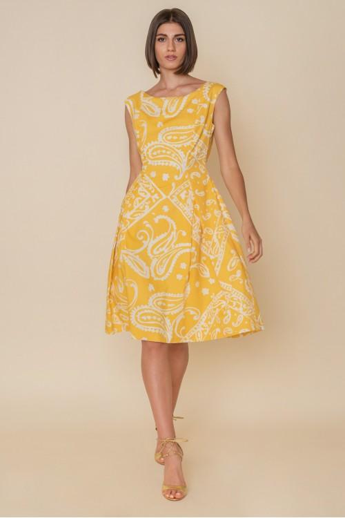 Φόρεμα εμπριμέ αμάνικο με κουφόπιετες