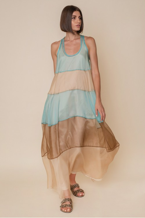 Long, tricolor organza dress with athletic back