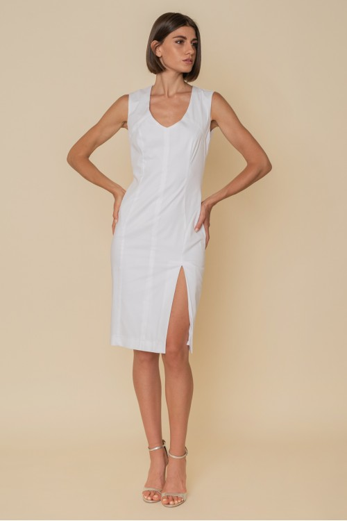 PENCIL cotton dress, sleeveless with cuts and front opening
