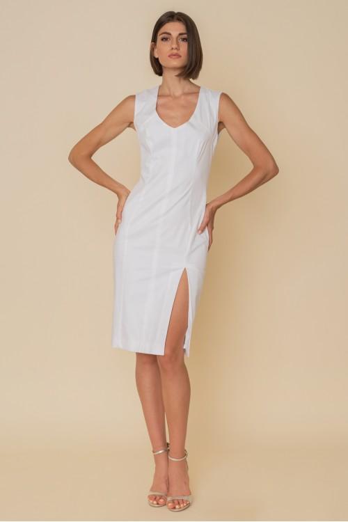 Φόρεμα βαμβακερό PENCIL, αμάνικο με κοψίματα και άνοιγμα εμπρός