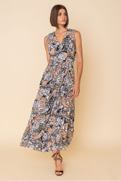 Long printed dress, sleeveless with open back