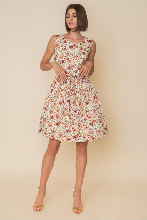 Φόρεμα εμπριμέ αμάνικο με σούρα και ζώνη