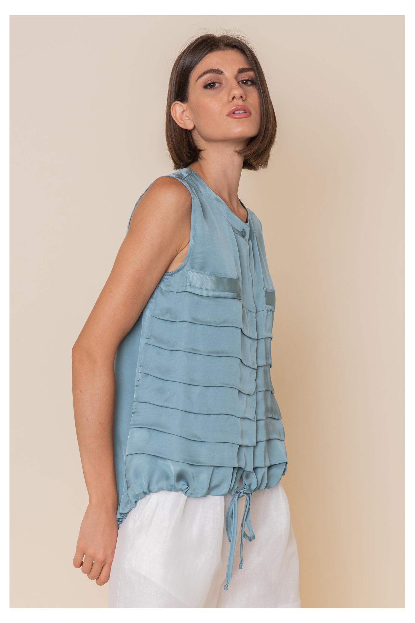 Μπλούζα αμάνικη με οριζόντιες πιέτες εμπρός, γυναικεία