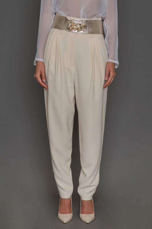 Crepe pants with pockets and pleats, women's