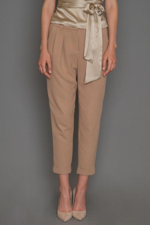 Παντελόνι CREPE με πιέτες, λοξές τσέπες και ρεβέρ, γυναικείο