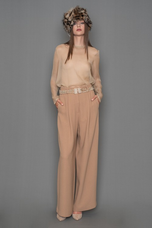 Crepe high-waisted pants, wide with pleats, women's