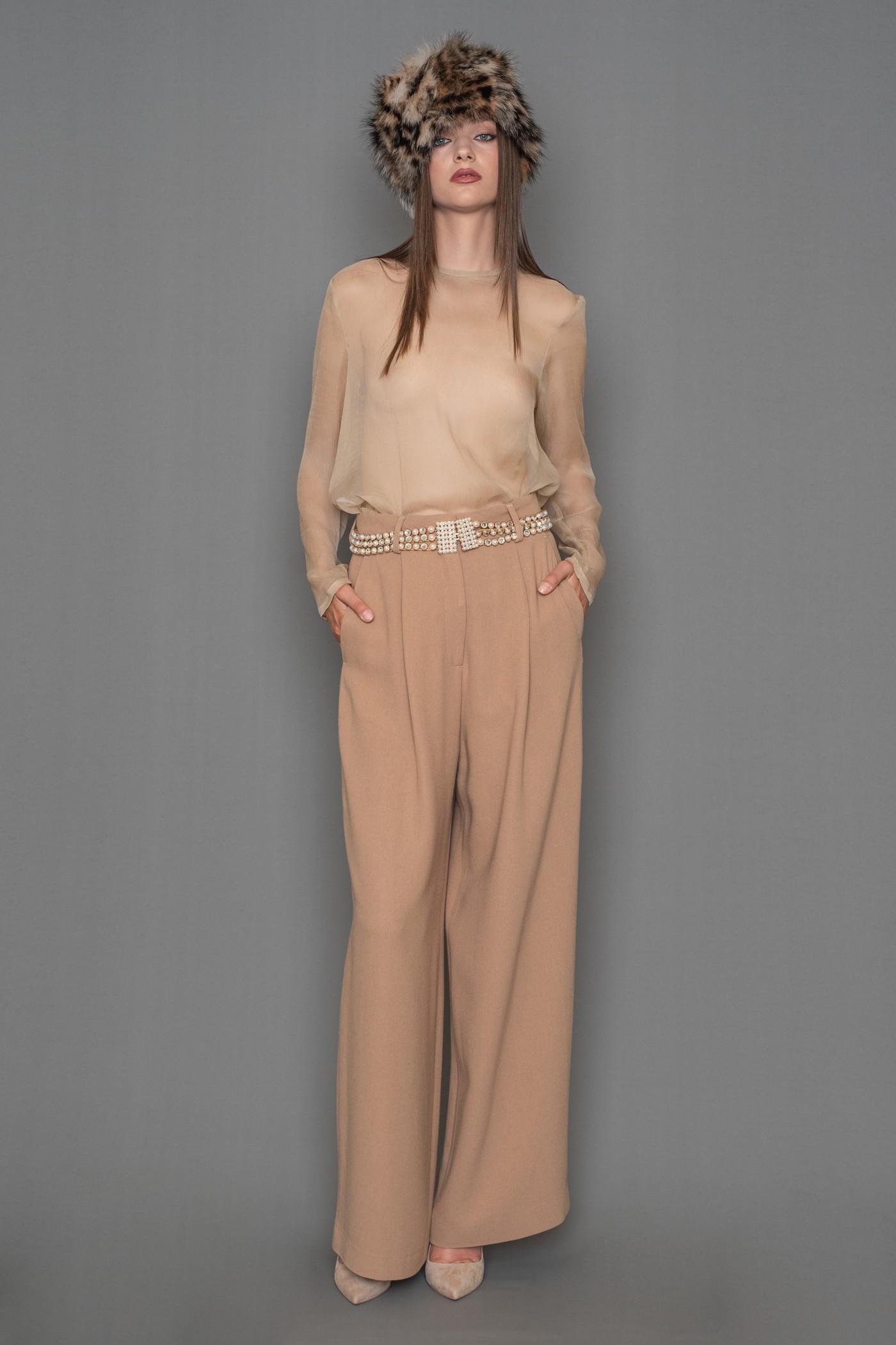 Παντελόνι CREPE ψηλόμεσο, φαρδύ με πιέτες, γυναικείο