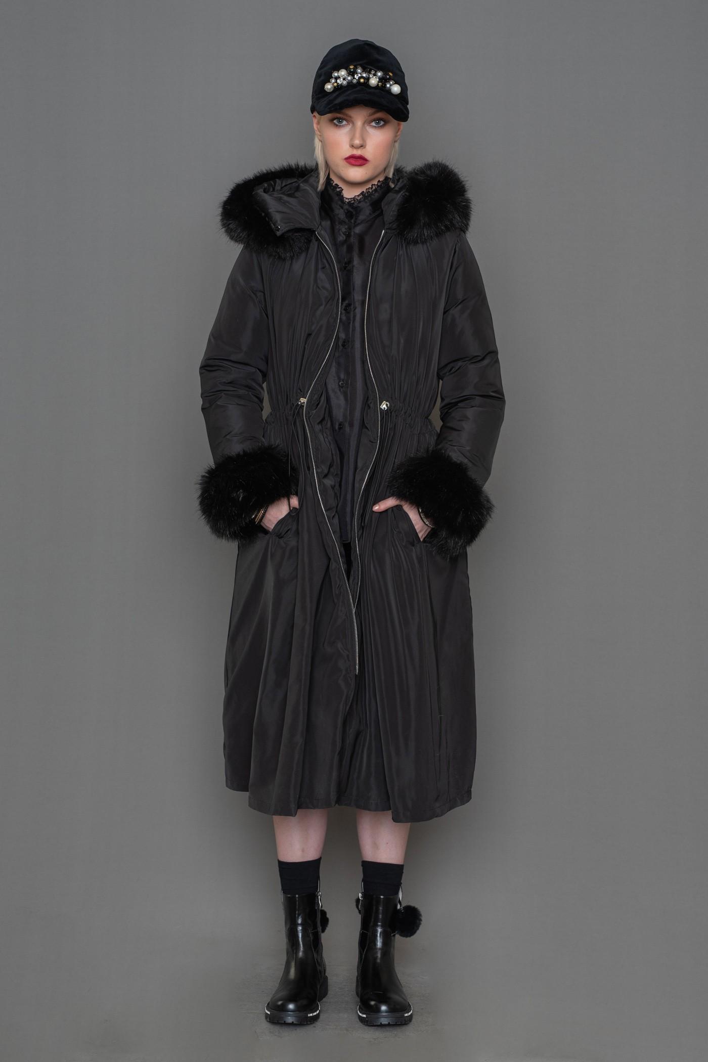 Μπουφάν μακρύ με σούρα και αποσπώμενη γούνα ECO FUR στην κουκούλα και στα μανίκια, γυναικείο