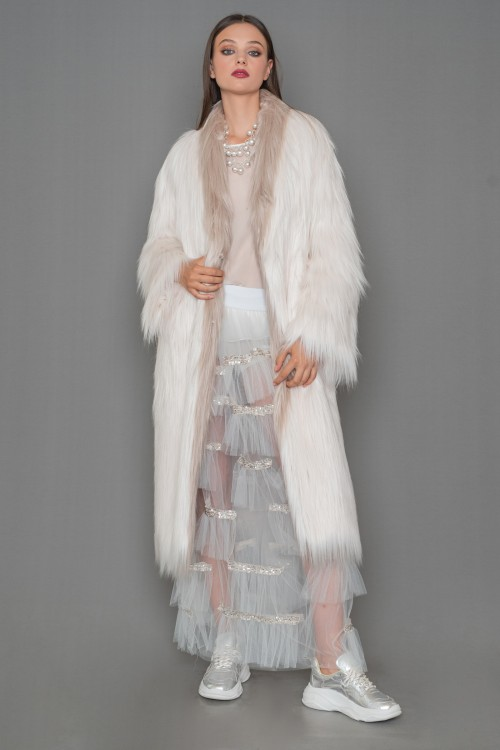 Eco fur long coat with long pile and belt, women's