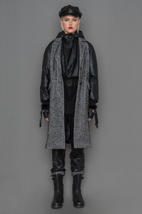 Herringbone coat with leatherette raglan sleeves and inner leatherette vest, women's