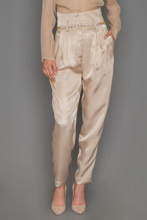 Παντελόνι από βισκόζη με πιετάκια, μπάσκα και τσέπες, γυναικείο