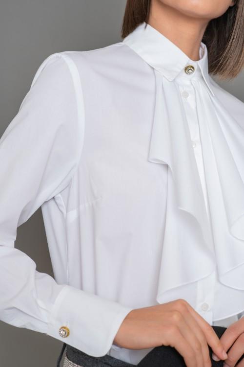 Πουκάμισο βαμβακερό με βολάν και πιετάκια στο εμπρός μέρος, γυναικείο