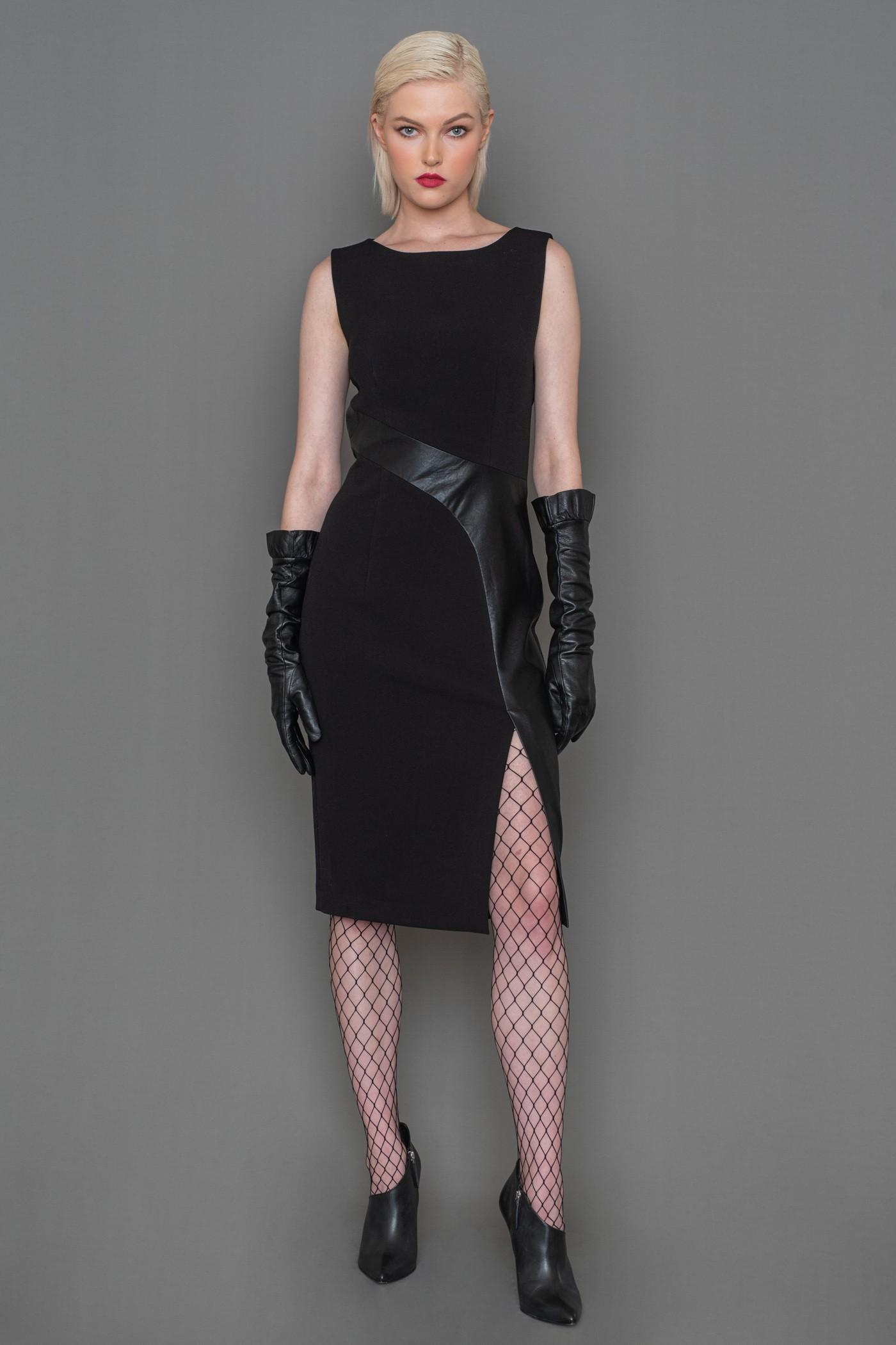 Φόρεμα ελαστικό PENCIL με λοξή φάσα από δερματίνη