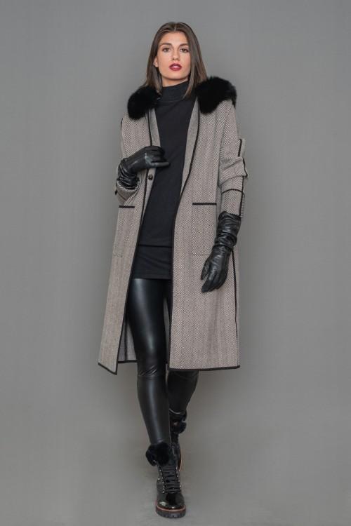 Πλεκτό μαντό, ψαροκόκαλο με γούνα RENAR στο γιακά, γυναικεία