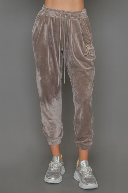 Παντελόνι βελούδινο με λάστιχο στη μέση και R απλικέ, γυναικείο