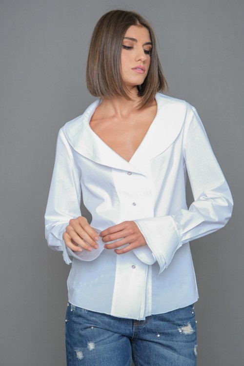Cotton shirt with triple ruffle on the front, neck and sleeves, women's