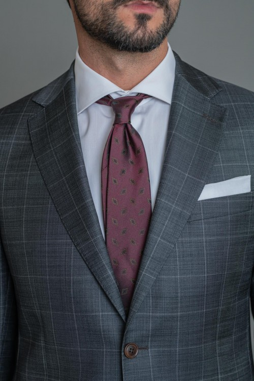 Κοστούμι καρώ fil-a-fil Milano Super 130s, ανδρικό