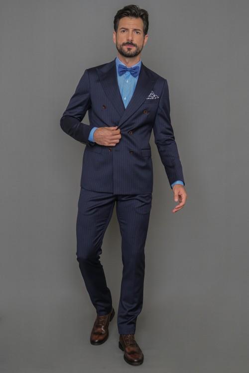 Κοστούμι ριγέ σταυρωτό Super 110s, ανδρικό