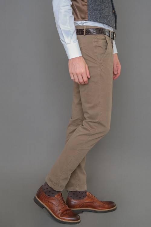 Chinos pants with lapel, men's