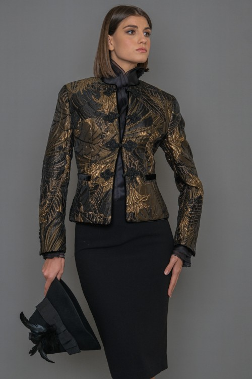 BROKAR jacket with neckline and velvet fillets, women's