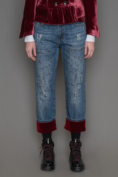 Sarouel jean with velvet lapel, women's