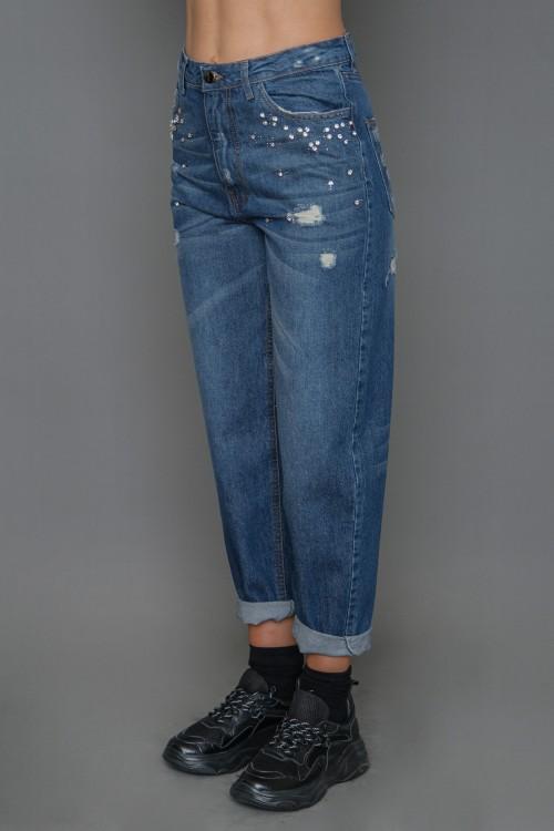 Παντελόνι jean mom fit με στρας, γυναικείο