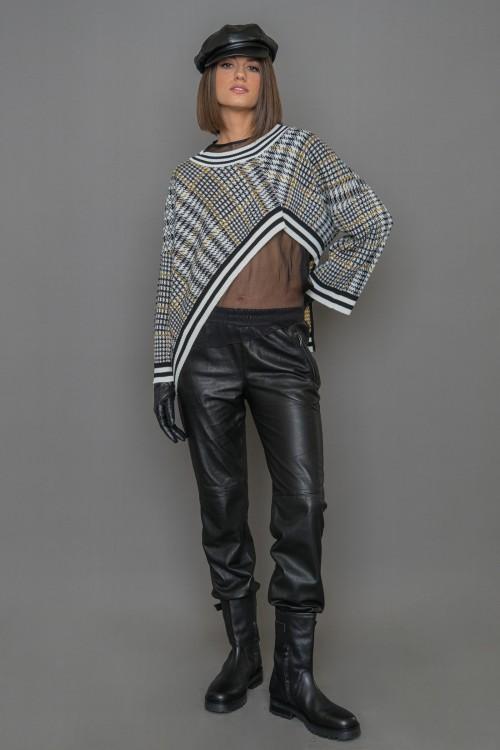 Πλεκτή μπλούζα ζακάρ, ασύμμετρη με μακριά μανίκια, γυναικεία