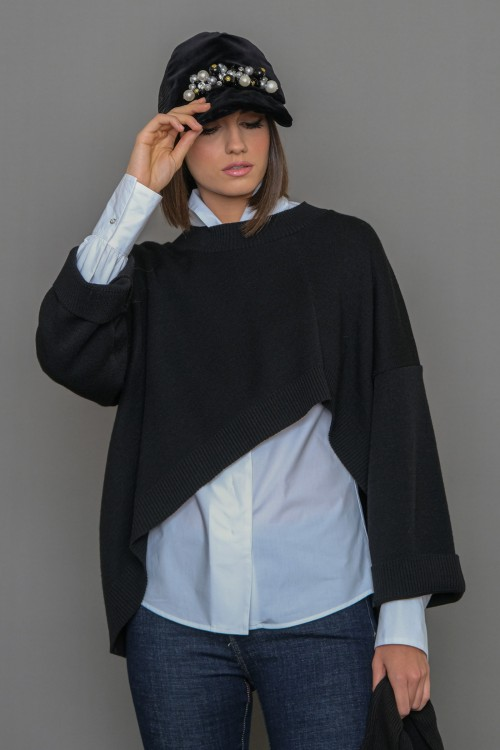 Knitted asymmetrical blouse with long sleeves, women's