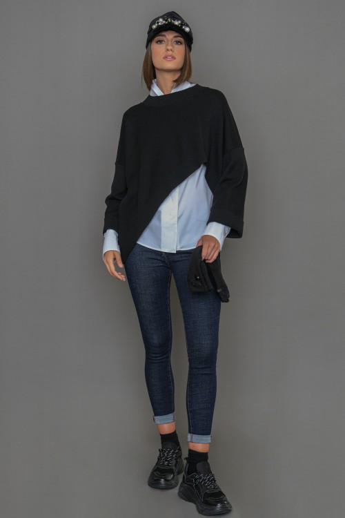 Πλεκτή μπλούζα ασύμμετρη με μακριά μανίκια, γυναικεία