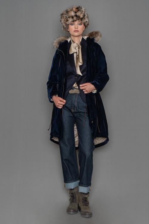 Τζάκετ βελούδινο με γούνα στη κουκούλα και κορδόνι στη μέση και στο κάτω μέρος, γυναικείο