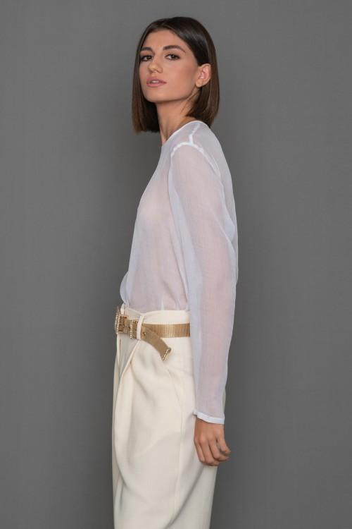 Μπλούζα από CREPON με λαιμόκοψη και μακριά μανίκια, γυναικεία