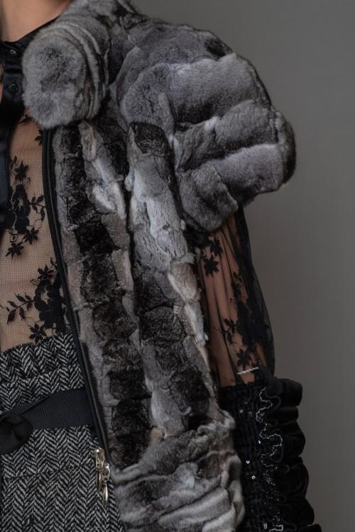Μπολερό κοντομάνικο με φερμουάρ από γούνα CHINCHILLA, γυναικείο