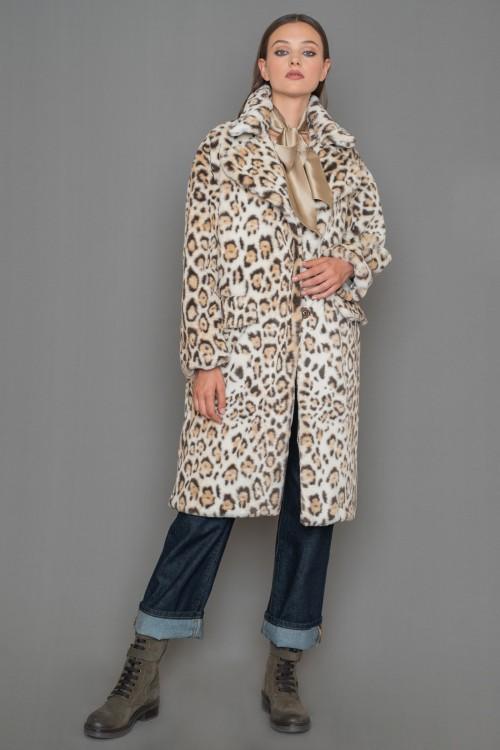 Eco fur leopard coat, overized, women's