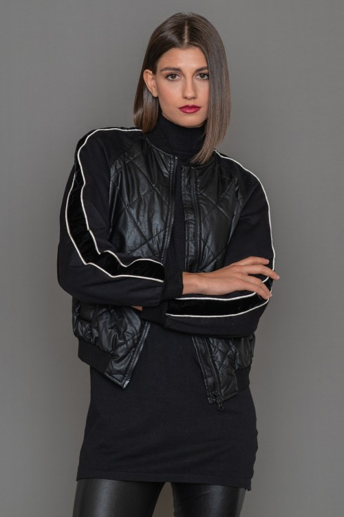Leathertte bomber jacket with embroidery on the back, women's