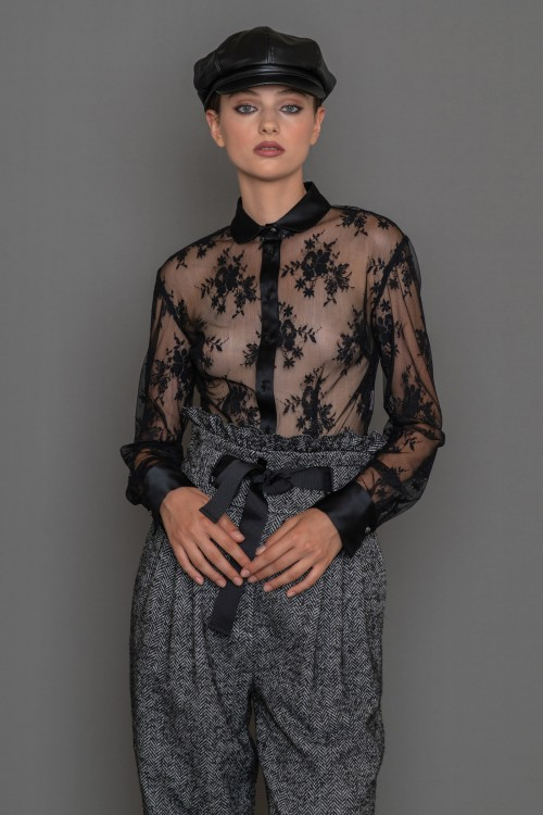 Lace shirt with satin collar, cuff and placket, women's