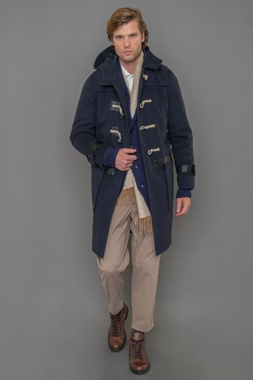 Παλτό μοντγκόμερι βελούρ με κουκούλα και κουμπιά, ανδρικό