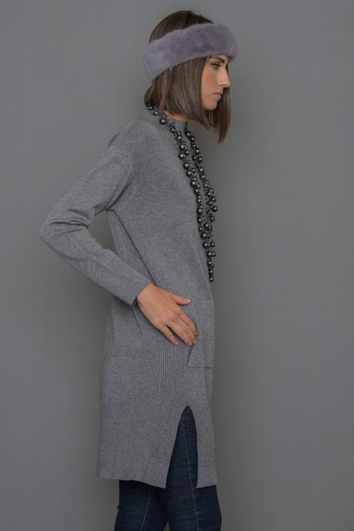 Πλεκτή μπλούζα μακριά με όρθιο γιακά και πλαϊνές τσέπες, γυναικεία