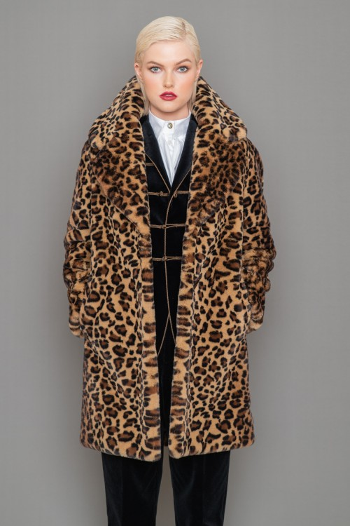 Eco fur leopard coat with buttons, women's