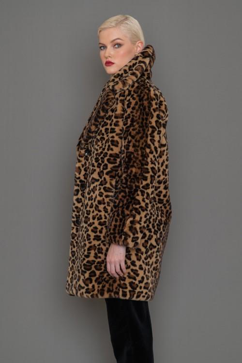 Παλτό ECO FUR λεοπάρ με κουμπιά, γυναικείο