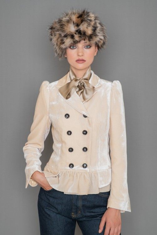 Velvet crossed jacket with ruffles and bubble sleeve, women's