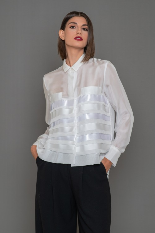 Silk shirt with horizontal pleats and long sleeves, women's