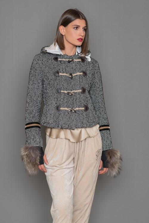 Herringbone jacket with hood and lining ECO FUR, women's