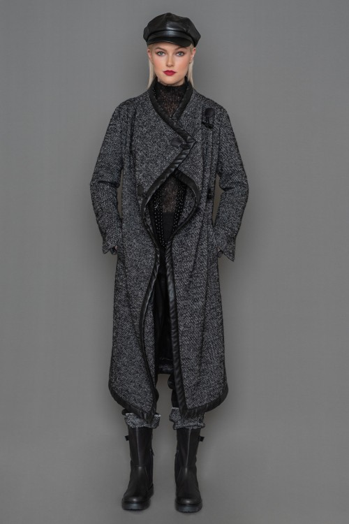 Crossed tweed coat with leather phases and belt, women's