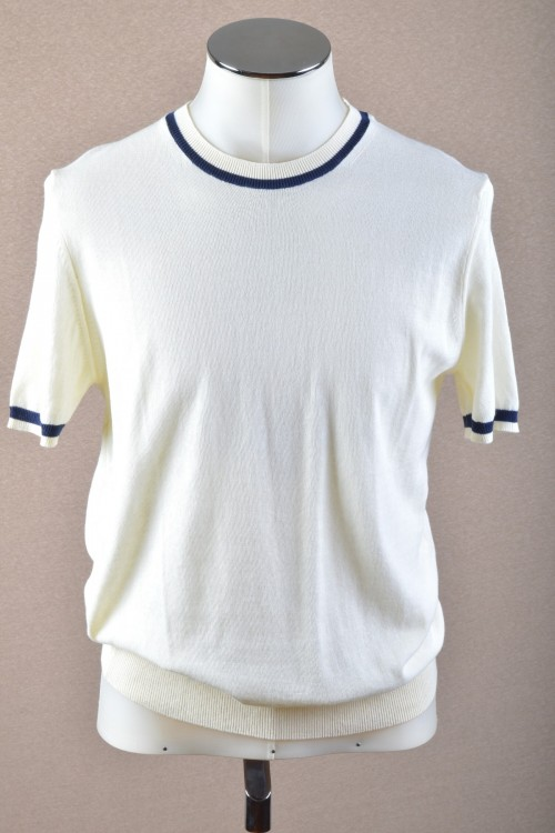 Πλεκτή Μπλούζα με ρίγα στη λαιμόκοψη και στα μανίκια, ανδρική